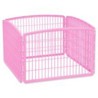 IRIS USA 4-Panel Indoor/Outdoor Plastic Pen in Pink