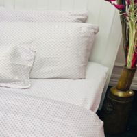 American Colors Emily Madison Diamond Full Sheet Set in White/Pink