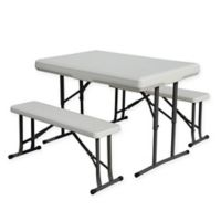 Stansport® 3-Piece Folding Table with Bench Seats Set