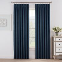 Marin 108-Inch Pinch Pleat Room Darkening Window Curtain Panel in Blue