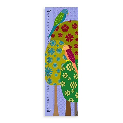 Green Leaf Art Colorful Parrots Growth Chart