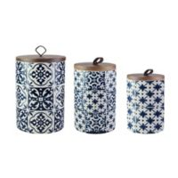 American Atelier Medallions 3-Piece Canister Set in Blue