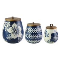 American Atelier 3-Piece Floral Canister Set in Blue