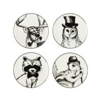 American Atelier Holiday Animals Salad Plates in Gold/Black (Set of 4)
