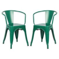 Poly And Bark Dining Iron Chair in Dark Green (Set of 2)