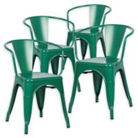 Poly And Bark Dining Iron Chair in Dark Green (Set of 4)