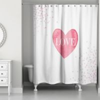 Designs Direct Pink Polkas Shower Curtain in White