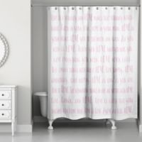 Designs Direct Love Sayings Shower Curtain in Pink