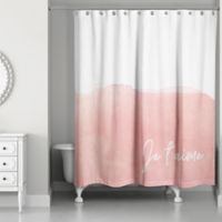 "Designs Direct ""Je T'aime"" Shower Curtain in Pink"