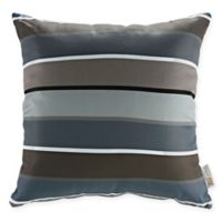 Modway Stripe Square Outdoor Throw Pillows in Grey (Set of 2)