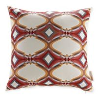 Modway Repeat Square Outdoor Throw Pillows in Red/Multi (Set of 2)