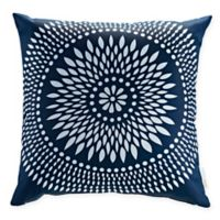Modway Cartouche Square Outdoor Throw Pillows in Navy/White (Set of 2)