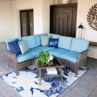 Leisure Made Concord 4-Piece Outdoor Sectional Set in Spa Blue
