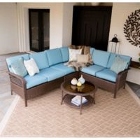 Leisure Made Bessemer 5-Piece Outdoor Sectional Set in Spa Blue