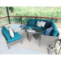 Leisure Made Canton 6-Piece Outdoor Sectional Set in Peacock