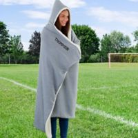 100% Sherpa Hooded Throw Blanket in Grey
