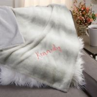 Reversible Embroidered Throw Blanket in Grey
