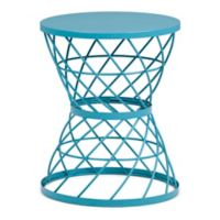 Simpli Home Rodney Metal Accent Table in Turquoise