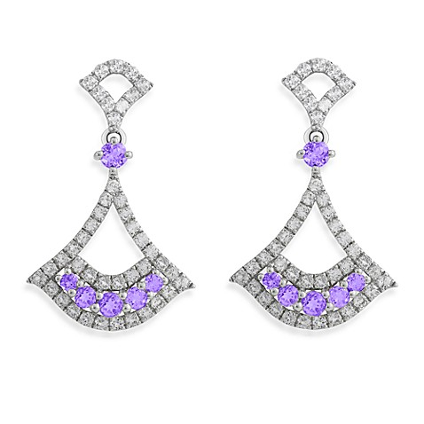 Badgley Mischka® Petal Perfect White Topaz and Amethyst Arabesque Earrings