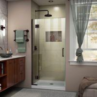 """DreamLine Unidoor-X 34"""" W x 72"""" H Frameless Hinged Shower Door in Oil Rubbed Bronze"""