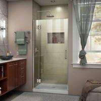 """DreamLine Unidoor-X 34"""" W x 72"""" H Frameless Hinged Shower Door in Brushed Nickel"""