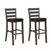"Faux Leather Upholstered Flint 31"" Bar Stools in Warm Gray (Set of 2)"