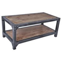 Armen Living® Industrial Coffee Table with Wooden Top in Pine