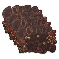 "Design Imports Embroidered ""Gobble Gobble"" Placemats in Brown (Set of 4)"