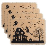 Design Imports Haunted House Print Burlap Placemats (Set of 4)