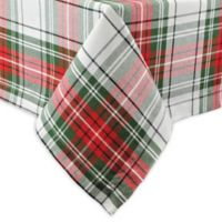 Design Imports 52-Inch Square Christmas Plaid Tablecloth