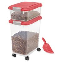 IRIS USA 3-Piece Airtight Pet Food Container Combo in Red