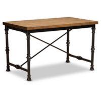 Baxton Studio Amista Criss Cross Desk in Dark Oak/Bronze