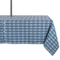 Design Import Ikat 60-Inch x 120-Inch Oblong Outdoor Tablecloth in Blue