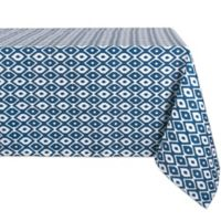 Design Import Ikat 60-Inch x 84-Inch Oblong Outdoor Tablecloth in Blue