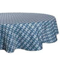 Design Import Ikat 60-Inch Round Outdoor Tablecloth in Blue