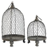A&B Home Phineas Hanging Candle Holders in Antique Bronze (Set of 2)