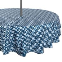 Design Import Ikat 52-Inch Round Outdoor Tablecloth in Blue