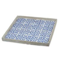 A&B Home Winston Large Cement Tray in Blue