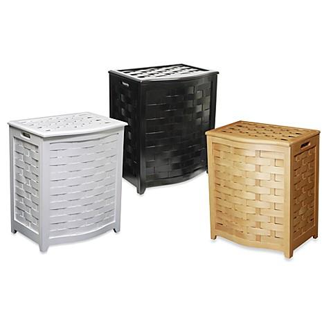 Oceanstar Bowed Front Veneer Wood Laundry Hampers Bed