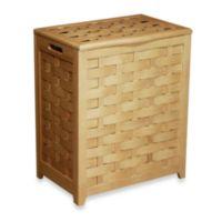 Oceanstar Rectangular Front Veneer Wood Laundry Hamper in Natural