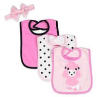 Baby Lounge 4-Piece Embroidered Poodle Bib Set with Bow in Pink