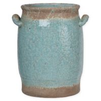 A&B Home Candia Small Crackled Ceramic Vase in Pale Turquoise
