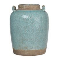 A&B Home Candia Large Crackled Ceramic Vase in Pale Turquoise