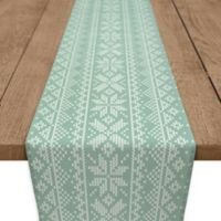 Knit Snowflake 90-Inch Table Runner in Green