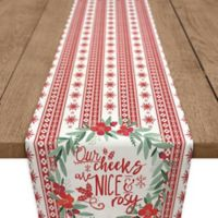 """""""Our Cheeks are Nice and Rosy"""" 90-Inch Table Runner in Red"""