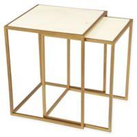 Zuo® Kensington Stone & Brass Nesting Tables (Set of 2)