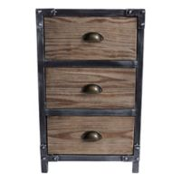 Armen Living® Nyx Industrial 3-Drawer End Table in Pine