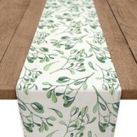Watercolor Mistletoe 90-Inch Table Runner in Green