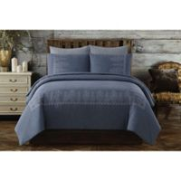 Chambray Full/Queen Duvet Cover Set in Blue