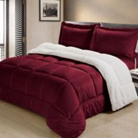 Cathay Home Reversible 3 Piece Bedding Set in Burgundy
